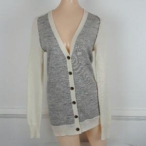 J CREW COLORBLOCK WOOL BLEND CARDIGAN